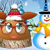 Игра Девочка Поу лепит снеговика